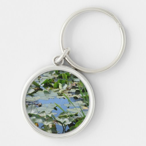 Scudder Pond Silver-Colored Round Keychain