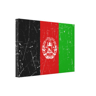 Scuffed and Scratched Afghan Flag Canvas Prints