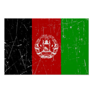 Scuffed and Scratched Afghan Flag Print