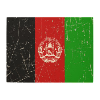 Scuffed and Scratched Afghan Flag Wood Canvas