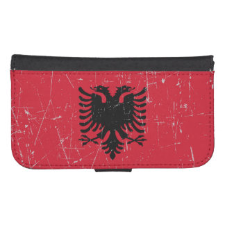 Scuffed and Scratched Albanian Flag Galaxy S4 Wallet