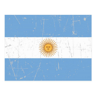 Scuffed and Scratched Argentinian Flag Postcard