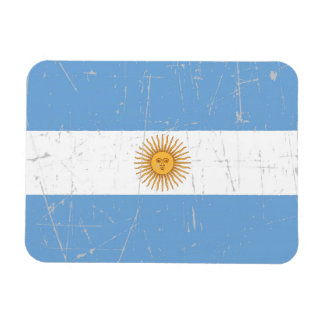 Scuffed and Scratched Argentinian Flag Rectangle Magnets