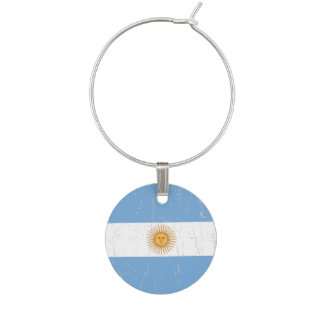 Scuffed and Scratched Argentinian Flag Wine Charm