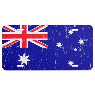 Scuffed and Scratched Australian Flag License Plate