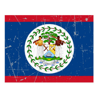Scuffed and Scratched Belize Flag Postcards