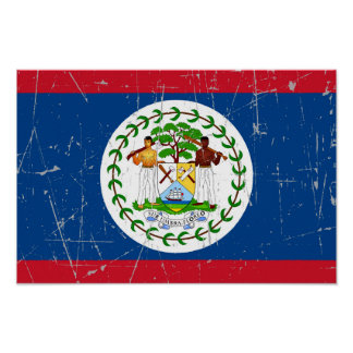 Scuffed and Scratched Belize Flag Poster