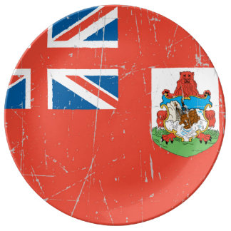 Scuffed and Scratched Bermuda Flag Porcelain Plate