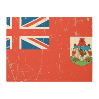 Scuffed and Scratched Bermuda Flag Wood Wall Art