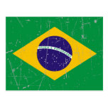Scuffed and Scratched Brazilian Flag Post Card