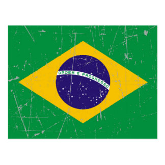 Scuffed and Scratched Brazilian Flag Postcard
