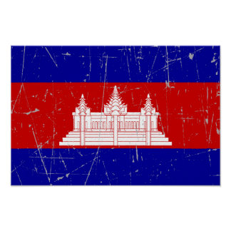 Scuffed and Scratched Cambodian Flag Poster