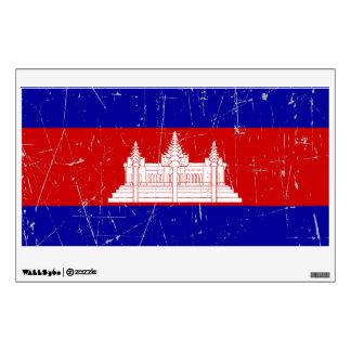 Scuffed and Scratched Cambodian Flag Wall Decal