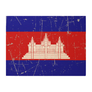 Scuffed and Scratched Cambodian Flag Wood Prints
