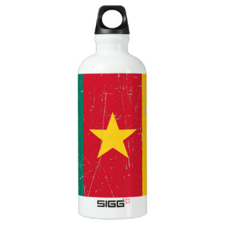 Scuffed and Scratched Cameroon Flag Aluminum Water Bottle