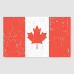 Scuffed and Scratched Canadian Flag Rectangle Sticker
