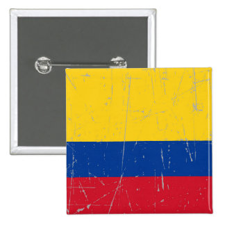 Scuffed and Scratched Colombian Flag Pinback Button