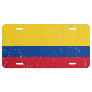 Scuffed and Scratched Colombian Flag License Plate