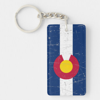 Scuffed and Scratched Colorado Flag Keychain