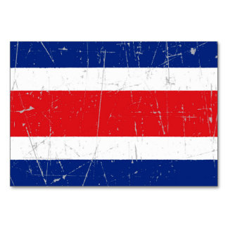 Scuffed and Scratched Costa Rica Flag Table Cards