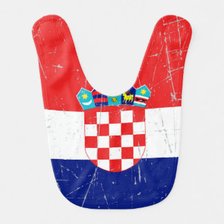 Scuffed and Scratched Croatian Flag Baby Bib