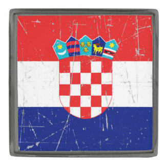 Scuffed and Scratched Croatian Flag Gunmetal Finish Lapel Pin
