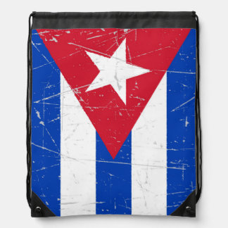 Scuffed and Scratched Cuban Flag Drawstring Backpack