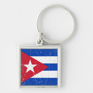Scuffed and Scratched Cuban Flag Keychain