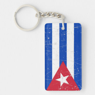 Scuffed and Scratched Cuban Flag Rectangular Acrylic Key Chains