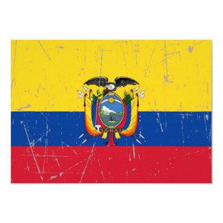 Scuffed and Scratched Ecuador Flag 5x7 Paper Invitation Card