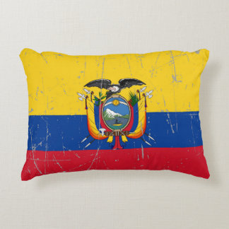 Scuffed and Scratched Ecuador Flag Accent Pillow