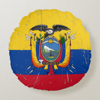 Scuffed and Scratched Ecuador Flag Round Pillow