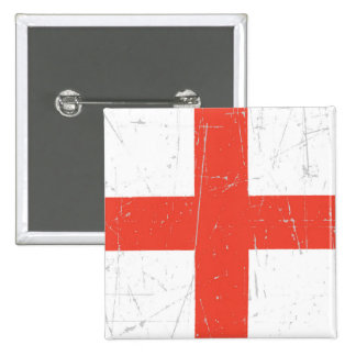 Scuffed and Scratched English Flag Pinback Button
