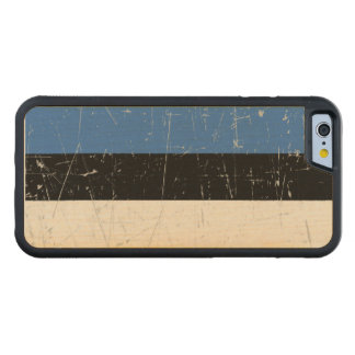 Scuffed and Scratched Estonian Flag Carved Maple iPhone 6 Bumper Case