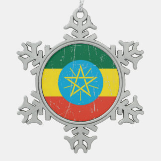 Scuffed and Scratched Ethiopian Flag Snowflake Pewter Christmas Ornament
