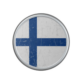Scuffed and Scratched Finnish Flag Bluetooth Speaker