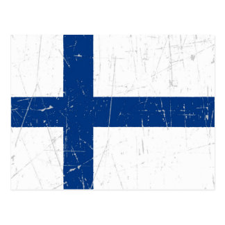 Scuffed and Scratched Finnish Flag Postcard