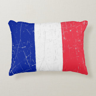 Scuffed and Scratched French Flag Accent Pillow