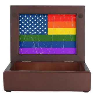 Scuffed and Scratched Gay Pride American Flag Memory Box
