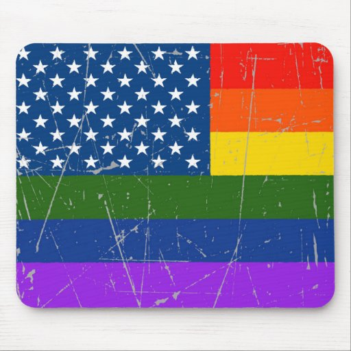 Scuffed and Scratched Gay Pride American Flag Mouse Pads