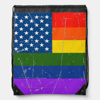 Scuffed and Scratched Gay Pride American Flag Drawstring Backpacks