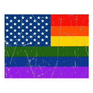 Scuffed and Scratched Gay Pride American Flag Postcard