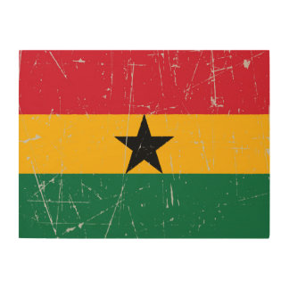 Scuffed and Scratched Ghana Flag Wood Print