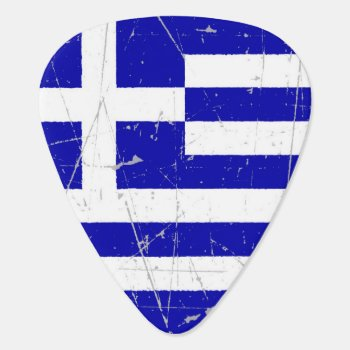 Scuffed And Scratched Greek Flag Guitar Pick by UniqueFlags at Zazzle