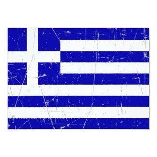 Scuffed and Scratched Greek Flag Custom Invitations