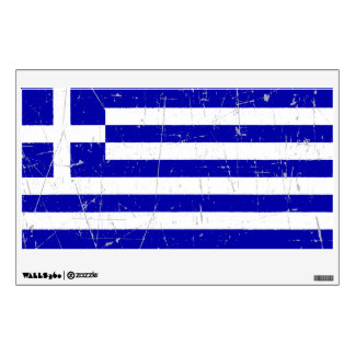 Scuffed and Scratched Greek Flag Wall Decal