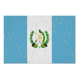 Scuffed and Scratched Guatemalan Flag Poster