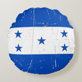 Scuffed and Scratched Honduras Flag Round Pillow