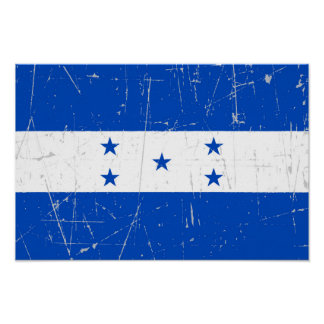 Scuffed and Scratched Honduras Flag Poster