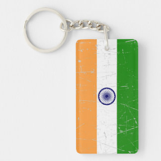 Scuffed and Scratched Indian Flag Double-Sided Rectangular Acrylic Keychain